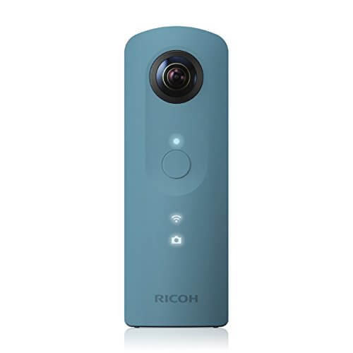 Ricoh Theta SC blau 360 Grad Vollsphärenkamera (2 x 12 MP, Full-HD-Video, 8GB interner Speicher, lichtstarkes Objektiv F 2.0)